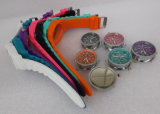 Пластиковый корпус и ремешок Швейцарское движение водонепроницаемый нескольких цветных фантазии часы