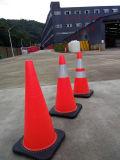 """28 """" [هونغقيو] برتقاليّ أمان حركة مرور [بفك] مخاريط, قاعدة أسود مع 2 شريط انعكاسيّة"""