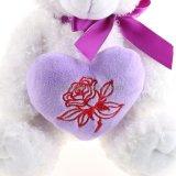 De mooie Witte Teddybeer van het Stuk speelgoed van de Pluche Zachte voor de Gift van de Valentijnskaart