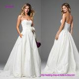 Без бретелек a - линия платье венчания с смычком