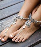 Strand-Fuss-Schmucksache-Silber überzogenes Münzen-Sommer-Frauen-Fußkettchen
