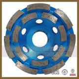 """4개의 """" 두 배 줄 컵 바퀴 다이아몬드 대리석 화강암 회전 숫돌"""