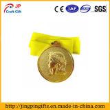 Medalla de encargo de la muchacha del oro de la alta calidad