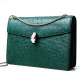 女性のための有名なブランドデザイン最上質の実質の緑のだちょうの皮の革吊り鎖袋