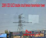 Doppia torretta della trasmissione di tensionamento del circuito di Megatro 220kv 2D3 Sjc3