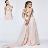 Ruffled Beading Chiffon A LINE Evening Dress