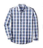 Chemise de plaid occasionnelle de long coton de chemises pour les hommes
