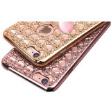 Diamante de Bling electrochapa la cubierta del caso de TPU para el iPhone de lujo 6 6s