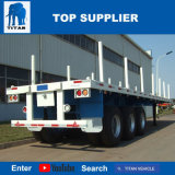 Titan-Fahrzeug - der 3 Wellen-ziehen der Flachbettbehälter-LKW-Schlussteil, der an verwendet wird, das Holz
