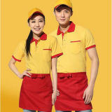 Fast-Food Restaurant tablier uniformes de court manchon serveuse Polo uniforme