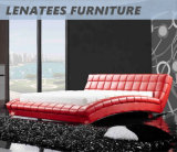 Кровать размера ферзя мебели кожи конструкции вычуры A059
