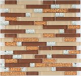 Diseño Popular siglo tira de cristal de colores mezclados mosaico patrón