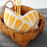 Patrón de hojas de vajilla de cerámica china tazón de arroz cocido naranja