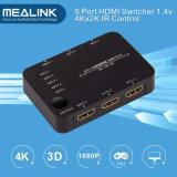 4k 5X1 5 Port-HDMI Rangierlok mit IR Fernsteuerungs