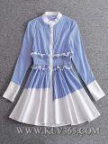 ヨーロッパ式の女性の方法ばねの秋の綿の長い袖の偶然のワイシャツの服