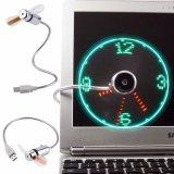 Mini ventilateur réglable créateur d'USB avec l'horloge, temps d'éclairage LED de ventilateur d'USB avec le ventilateur de message de montre