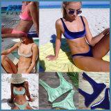 Les femmes Thong Bikinis Ensembles de velours bleu maillot de bain Maillots de bain