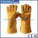 Желтый коровы кожаные перчатки сварочные работы, утвержденном CE
