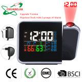 Indoor Hgrometer thermomètre avec projection rotatif Calendrier Horloge d'alarme