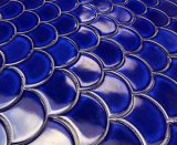 Bleu royal et du secteur de l'échelle de poissons de la forme de mosaïque en porcelaine pour Wall Tile, de la piscine