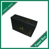 Матовый черный вино из гофрированного картона упаковки с логотипом