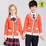 V-Neck Primary School Uniforme Pullover Knitted Cardigan Sweater