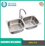 Wb2-818 dissipador de cozinha moldando da bacia dobro do aço inoxidável 304