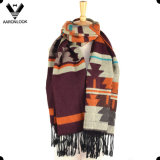 Winter Hot Sale Big Colorful Jacquard Blanket Aztec Scarf Shawl