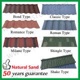 Tuiles de toit galvanisées chinoises enduites colorées par pierre de terre cuite de tuiles de toiture en métal de sable