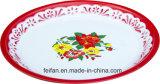 Bandeja de té con recubrimiento en polvo con una decoración de esmalte