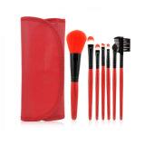 Cepillos profesionales del maquillaje del Portable 7 del PCS del bolso determinado cosmético de nylon sintetizado de la PU