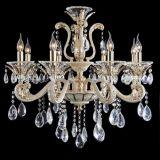 金および白い亜鉛合金の水晶吊り下げ式ライト