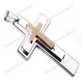 Kruis van de Halsband van de Tegenhanger van de Halsband van het roestvrij staal het Katholieke Dwars, Godsdienstige (iO-St00G)