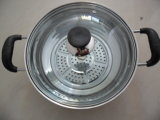 Stainless Steel Cooking Pot à Pearl forme avec couvercle en verre