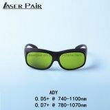 Las gafas de seguridad de laser Ady con Ce protegen la longitud de onda 740 - 1100nm para el Alexandrite, diodos de 755nm/1064nm 808&980nm, ND: YAG
