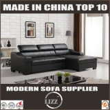 Bâti de sofa entreposable de meubles noirs de cuir véritable (LZ710)