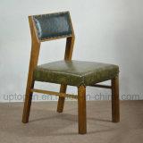 Los muebles de madera del restaurante fijaron con la silla de cuero y el vector verdes del rectángulo (SP-CT686)