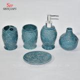 5piece. Accessoire en céramique bleu Set/a de salle de bains