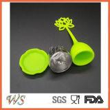 Ws-If042 (het Groene) Handvat van het Silicone van de Bal van het Roestvrij staal van het Hulpmiddel van de Thee van het Losse Blad van Infuser van de Thee