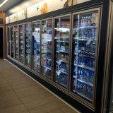 Tipo remoto Refrigerador Marco negro Refrigerador de puerta de cristal