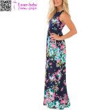O vestido Maxi de Racerback da cópia floral da marinha com lado Pockets L51418