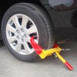 Abrazaderas rojas y amarillas de la seguridad de tráfico de rueda
