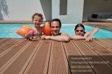 Plancher extérieur bon marché et populaire de Countyard WPC, Decking creux inférieur de la maintenance 150*25mm