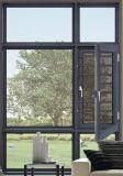 Het goedkope Beklede Hout Frame Openslaand raam van het Aluminium met Dubbel Verglaasd Glas