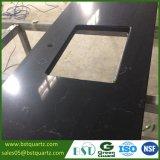 Черный мраморный смотря сляб кварца для Countertop кухни