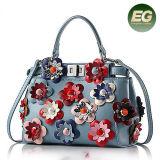 2017 Beutel neue der Art-100% echtes Leder-Handtaschen-stilvolle der Dame-Schulter mit bunter Blume Emg5049
