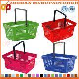 다채로운 슈퍼마켓 금속 손잡이 (Zhb60)를 가진 플라스틱 휴대용 쇼핑 바구니