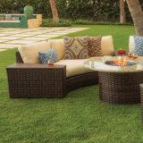 Jeu d'intérieur/extérieur de sofa de double de forme d'arc de coin de rotin de meubles de salon de patio de jardin
