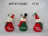 """11 """" H decorazione floreale della casa di natale del pupazzo di neve e della Santa con le braccia del ramoscello, 3 Asst"""