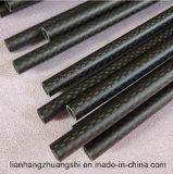 Alta calidad brillante del tubo de la fibra del carbón 3k
